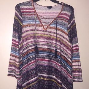 New Directions Multi-Colored Lace Up Top